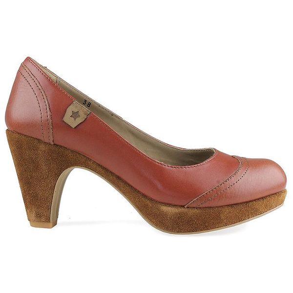 Dámské koňakově hnědé kožené lodičky Cubanas Shoes