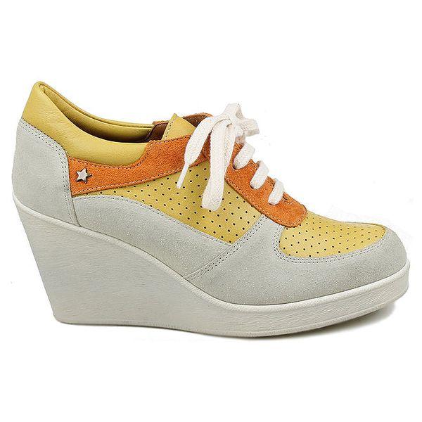 Dámské kožené žluto-oranžové tenisky na klínku Cubanas Shoes