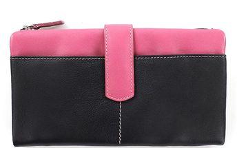 Dámská černo-fialovo-fuchsiová peněženka Puntotres