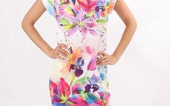 Dámské květinové šaty s krátkým rukávem Santa Barbara