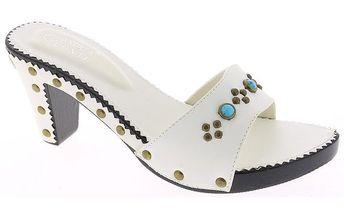 Dámské bílé sandálky s tyrkysovými kamínky Andrea Conti
