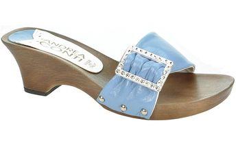 Dámské kožené světle modré nazouvací sandály s ozdobou Andrea Conti