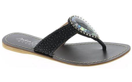 Dámské kožené černé sandálky s perleťovou kapkou Andrea Conti