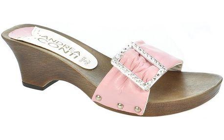Dámské kožené světle růžové nazouvací sandály s ozdobou Andrea Conti