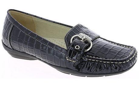 Dámské černé mokasíny se vzorem krokodýlí kůže Andrea Conti