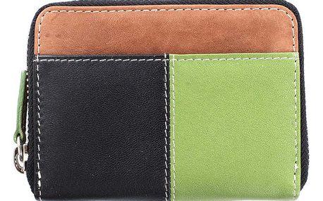 Dámská černo-zeleno-hnědá peněženka na karty Puntotres
