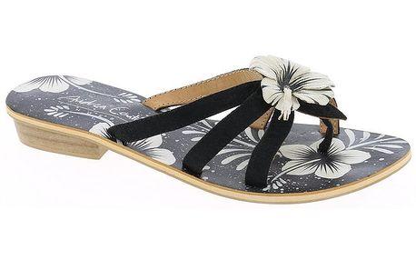 Dámské kožené černé páskové sandálky s květinou Andrea Conti