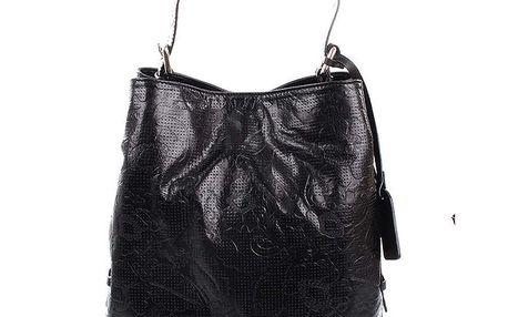 Dámská černá kožená kabelka s jemným vzorem Puntotres