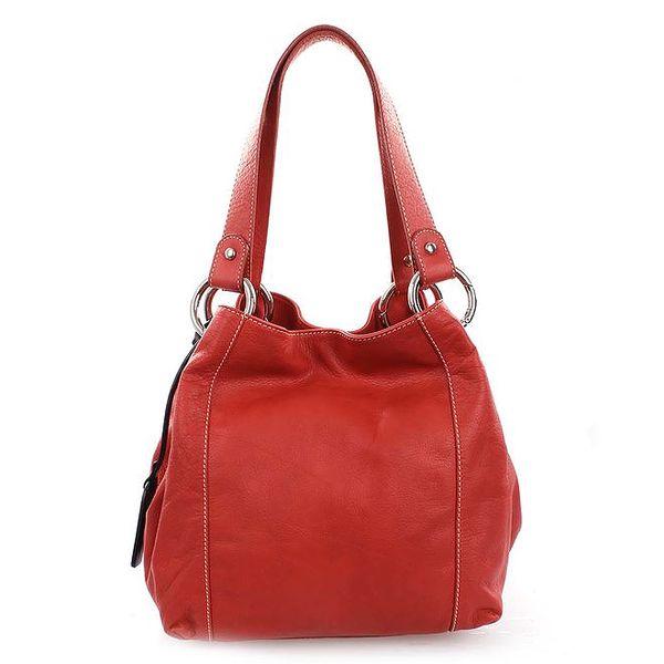 Dámská červená kožená kabelka Puntotres