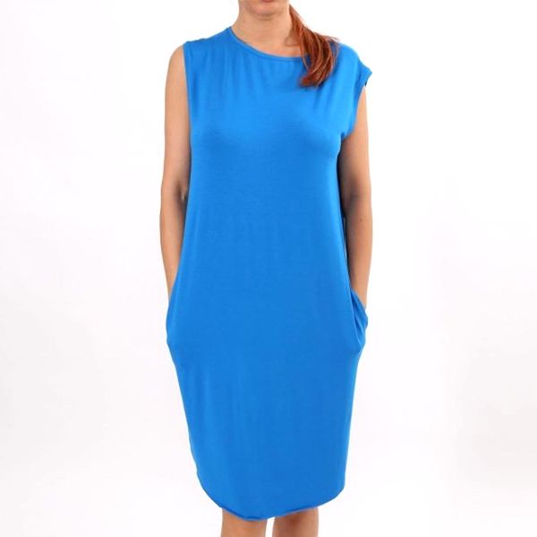 Dámské modré šaty s kapsami Santa Barbara