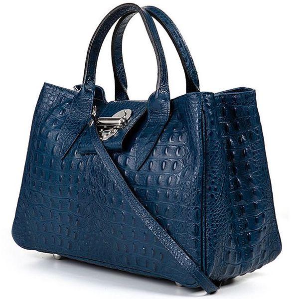 Dámká modrá kabelka s krokodýlím vzorkem Giulia