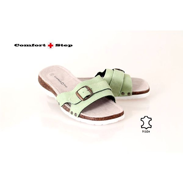 Dámské pantofle Fussbett zelená s tvarovanou stélkou