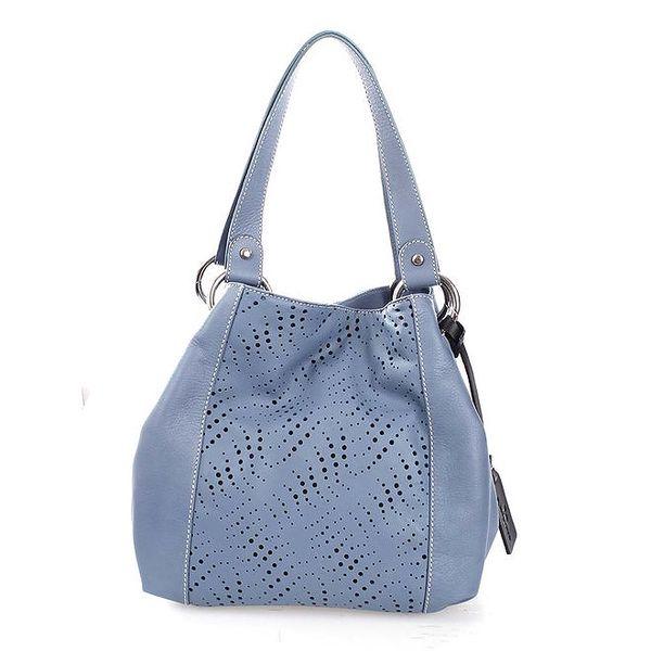 Dámská modrá kožená kabelka s perforací Puntotres