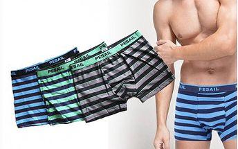 Dopřejte si tři pohodlné pánské boxerky z kvalitní bavlny. Tyto pružné trenýrky vám poskytnou potřebný komfort.