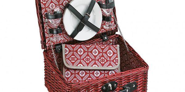 Cilio piknikový koš Bellagio v červené barvě pro 2 osoby