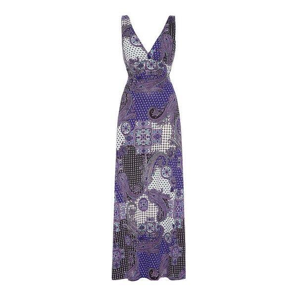 Dámské fialové vzorované šaty na ramínkách Iska