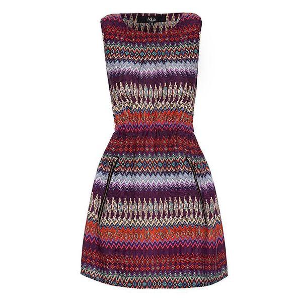 Dámské fialové šaty s výrazným vzorem Iska