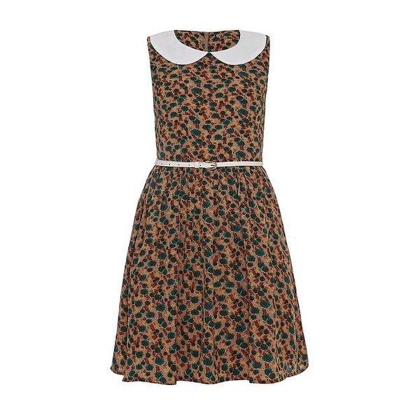 Dámské béžovo-zelené šaty s límečkem Iska