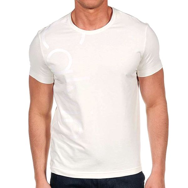 Pánské krémové tričko s krátkým rukávem Calvin Klein