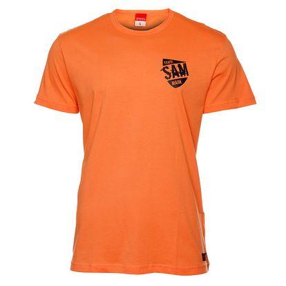 Pánské oranžové triko s černým potiskem Sam 73