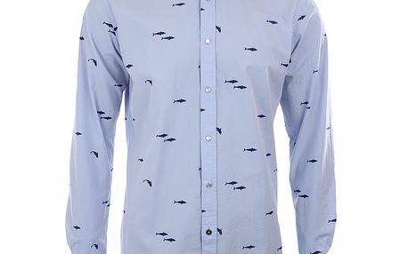 Pánská světle modrá košile se žraloky A Fish Named Fred