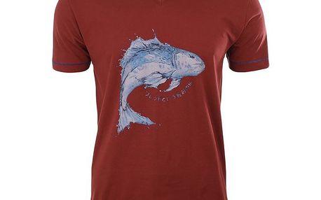 Pánské vínové tričko s rybou A Fish Named Fred