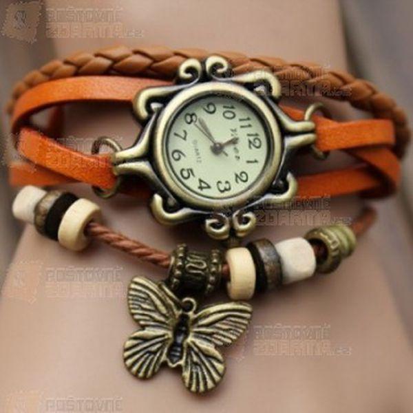 Náramkové hodinky Vintage s motýlkem a poštovné ZDARMA! - 20711593
