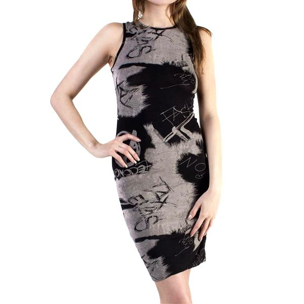 Dámské šedé žíhané šaty s nápisy Pepper Tree