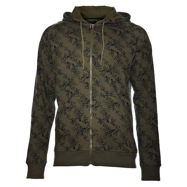 Pánská khaki mikina Envy s černým potiskem a kapucí