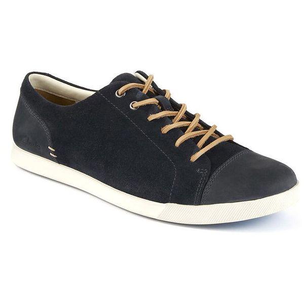 Pánské tmavě modré šněrovací boty s koženou tkaničkou Clarks