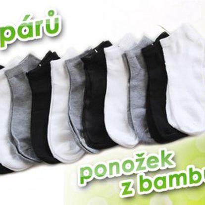 12 párů kotníčkových ponožek s bambusovým vláknem ve třech barvách. Ideální díky vysoké absorbci potu a zápachu na letní dny. Nejlevněji v ČR!!