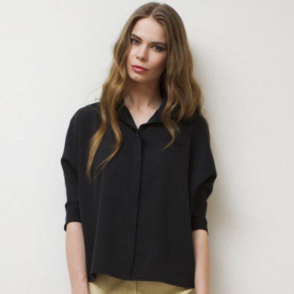 Dámská černá košile s 3/4 rukávy Mija