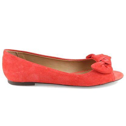 Dámské korálově červené balerínky s otevřenou špičkou Arezzo