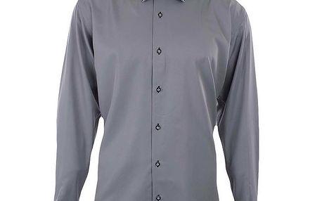 Pánská šedá košile s černým límečkem a manžetami Dicotto