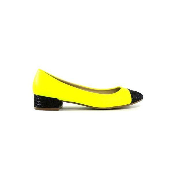 Dámské neonově žluté kožené baleríny s černými detaily Shoes in the City