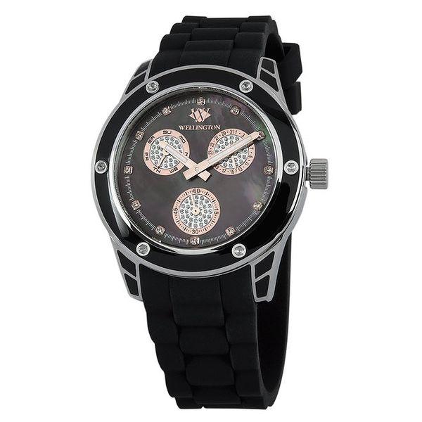 Dámské černé hodinky s prvky z růžového zlata Wellington