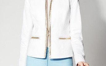 Dámské bílé sako se zlatým řetízkem Rylko