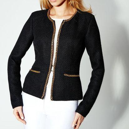 Dámské černé sako se zlatým řetízkem Rylko