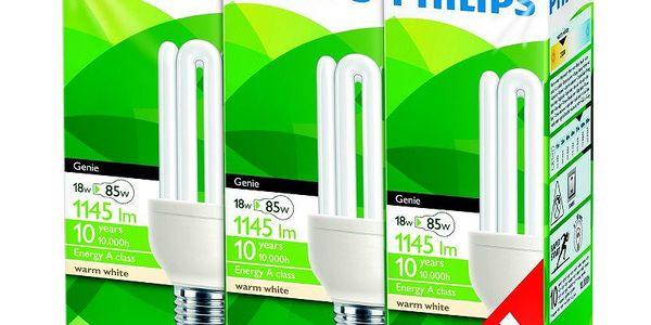 Úsporná žárovka Philips Genie 18W, E27, 3 pack