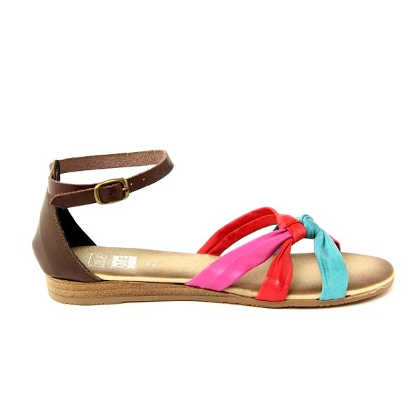 Dámské kožené sandálky se 3 barevnými pásky Julie Julie