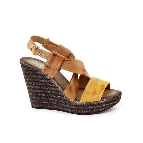 Dámské kožené hnědo-hořčicové sandálky s širokými pásky Julie Julie