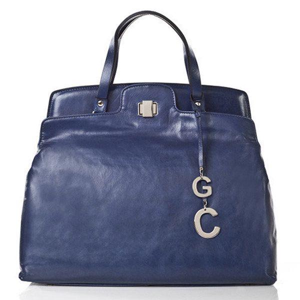 Dámská modrá kožená kabelka se zámečkem Gianni Conti