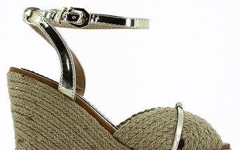 Dámské sandály na klínku se zlatými pásky Shoes and the City
