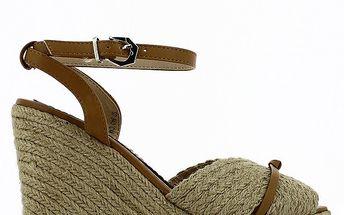 Dámské sandály na klínku s hnědými pásky Shoes and the City