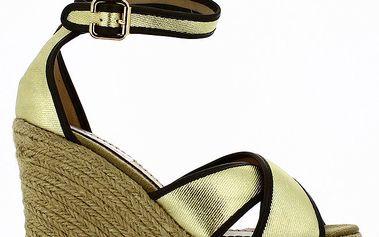 Dámské sandály na klínovém podpatku se zlatými pásky Shoes and the City