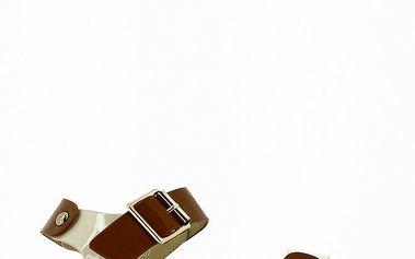 Dámské hnědo-smetanové nízké sandály Shoes and the City