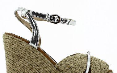 Dámské sandály na klínku se stříbrnými pásky Shoes and the City