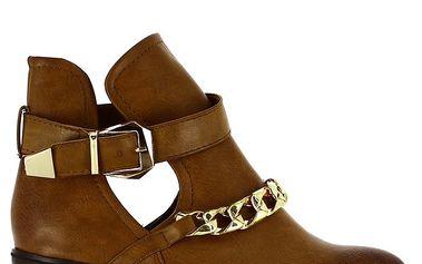 Dámské hnědé kotníkové boty s řetízkem Shoes and the City