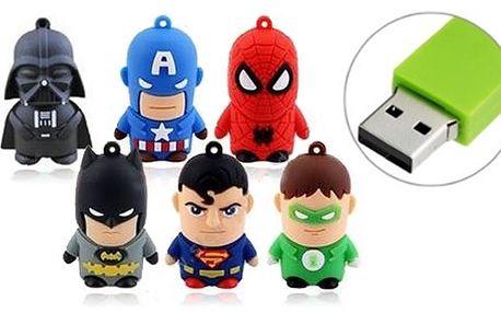 8 GB USB flash disk ve tvaru populárních filmových a komiksových postaviček. Na výběr Dart Vader, Spiderman, Superman, Batman a další. Rozhraní USB 2.0, rychlost čtení 10 MB/s, jednoduché připojení bez nutnosti instalace ovladačů. Mějte vždy po ruce potřebné dokumenty ve stylovém balení.