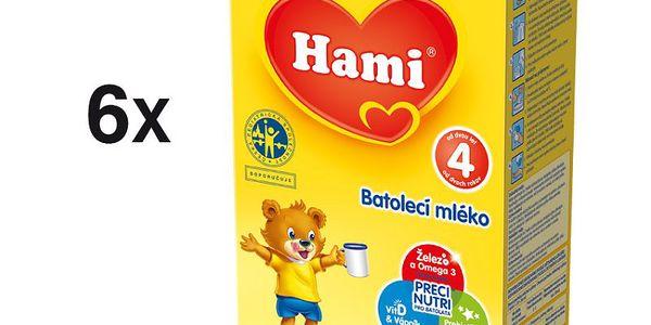 Hami 4 batolecí mléko 6 x 500g, pokračovací batolecí mléčná výživa